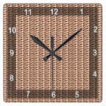 Basketweave Tan Diagonal Weave Square Wallclock