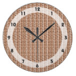 Basketweave Tan Diagonal Weave Wallclocks