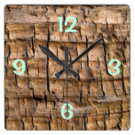 Old Cracked Wood with Aqua Print Square Wall Clock