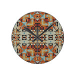Red Orange Khaki Blue Native Tribal Mosaic Pattern Round Clocks