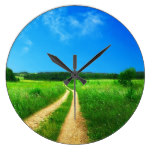 Rural Country Path Grass Summer Blue Sky meadow Wall Clocks