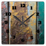 Rustic Texture With Flaking Paint On Rusty Metal Square Wallclock