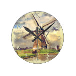 Rustic Vintage Dutch Windmill Watercolor Round Clocks