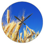 Rye Grains Field Blue Sky Farm Harvest Country Wall Clocks