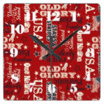 USA, Patriotic, Red, White and Blue, Old Glory Square Wallclock