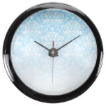 White & Blue Faded Damask Pattern Fish Tank Clocks