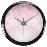 White & Pink Faded Damask Pattern Aquavista Clock