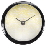 White & Yellow Faded Damask Pattern Aquavista Clock