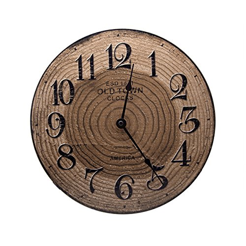 12″ Retro Wood Clocks, Home Decoration Round Wooden Wall Clock