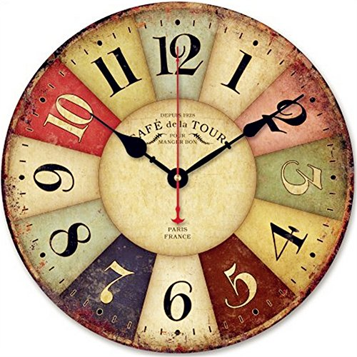 SKMEI® 12-inch Vintage France Paris Colourful French Country Tuscan Style Non-Ticking Silent Wood Wall Clock (034)