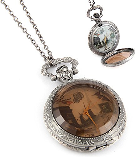 Fashion Jewelry Women's Novelty Paris France Clock Necklace (14140)