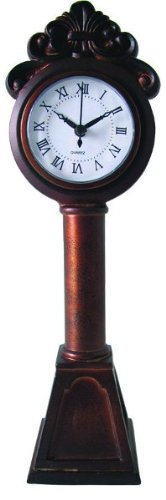 13″ Elegant Grandfather Style Miniature Rustic Red Roman Numeral Mantle Clock
