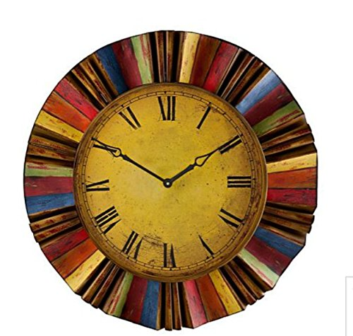 30″ Artistic Vintage Style Multi Color Metal and Wooden Clock Wall Hanging Decor Home Accent Rustic Art Plaque Antiqued Finish Design Decoration