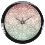 Pink & Green Ombre Damask Pattern Fish Tank Clocks