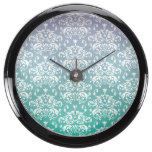 Purple & Blue Ombre Damask Pattern Fish Tank Clocks