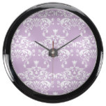 Purple Pastel Damask Pattern Fish Tank Clock