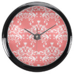 Red Pastel Damask Pattern Fish Tank Clocks
