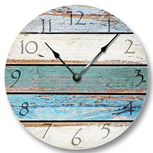 Weathered Beachy Boards wall CLOCK – ocean colors old paint boards pattern – shabby beach wall home decor