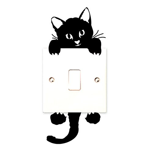 Funny Cute Cat Light Switch Vinyl Wall Stickers Decor Art Mural Baby Nursery Room