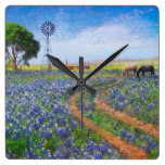 Country Rustic Landscape Windmill Lavender Flower Square Wallclock