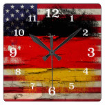 Crackle Paint | German American Flag Square Wallclocks