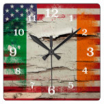 Crackle Paint | Irish American Flag Square Wallclocks