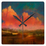 Evening Sunset Pastoral Landscape White Barn Square Wall Clock