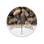 Festive Holiday Joyeux Noel Pine Cone Round Clocks