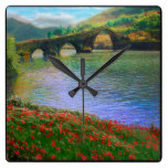 River Landscape Rustic Country Stone Bridge Red Square Wall Clocks