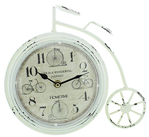 Vintage White Penny Farthing Mantel Clock By Haysom Interiors