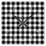 Cool White Black Lumberjack Tartan Squares Pattern Square Wall Clocks