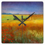 Country Rustic Landscape Golden Fields Red Poppy Square Wallclock