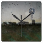 Horses Rustic Country Landscape Horse Windmill Square Wall Clock