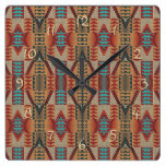 Rustic Native American Indian Cabin Mosaic Pattern Square Wall Clock