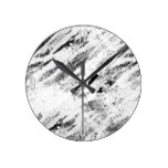 Simple Rustic White Painted Brushstrokes on Black Round Clocks