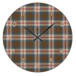 Teal Blue Red Brown Lumberjack Tartan Pattern Wallclock