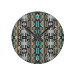 Turquoise Tape Brown Rustic Cabin Mosaic Pattern Round Wall Clock