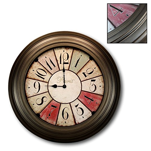 Decorative Oversize Wall Clock 21 inches | Rustic Paris Bistro Style with Bronze Bezel