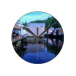 Beautiful Rustic Backview Reflections in Creek Round Wall Clocks
