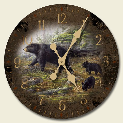 Keeping Watch Black Bears 12-inch Decorative Wood Wall Clock by Highland Graphics