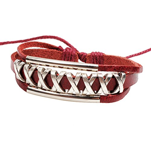 Real Spark Womens Teens Unisex Leather Woven Braided Double Tube Strands Adjustable Wrap Bracelet