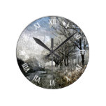 Winter Bayou Trees Landscape Watercolor Painting Round Clock