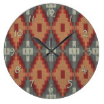 Brick Red Burnt Orange Gray Tribal Mosaic Pattern Wallclock