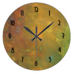 Brown Gold Green Earthy Abstract Design Wall Clock