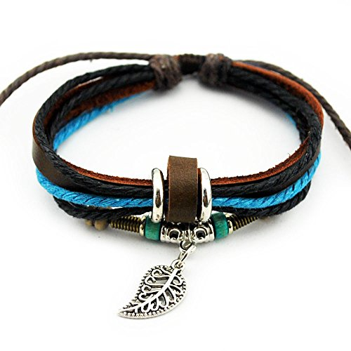 Real Spark Fashion Multilayer Rope Wristband Bracelet Metal Leaf Pendant Tribal Wrap Bracelet