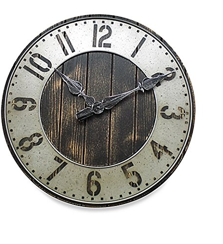 Rustic Wall Clock – Oversized Model 20 Inch – Punched Metal – A Great Addition To Your Home Decor