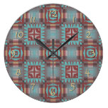 Coral Red Brown Turquoise Rustic Mosaic Pattern Clock