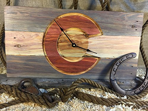 State of Colorado Flag Wood Wall Clock, rustic