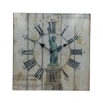 Hippih Silent Round Wall Clocks (12 Inches) Living Room Decorative Vintage / Country / French Style Wooden Clock(Square Statue of Liberty)