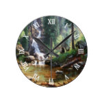 Forest Waterfall Bear Wildlife Watercolor Round Clocks